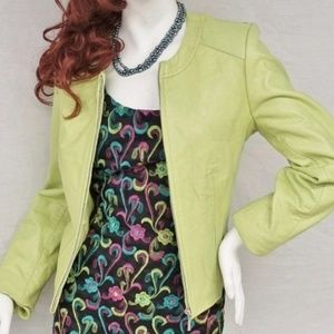 Who can spell Chartreuse? Soft Leather Moto Jacket
